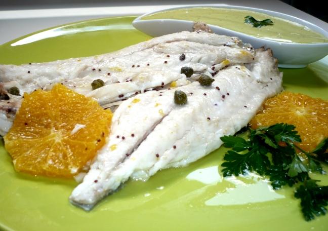 filetti di spigola all'arancia in salsa aioli